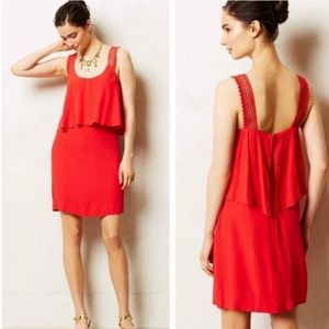 Maeve Tiana Red Tiered Crepe Dress